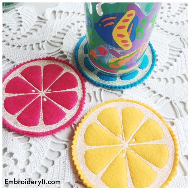 Machine Embroidered Summer Citrus Coasters
