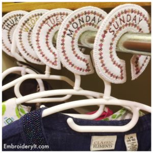 Embroidery It Closet Organizer Days of the Week 1