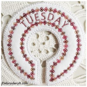 Embroidery It Closet Organizer Days of the Week Tuesday