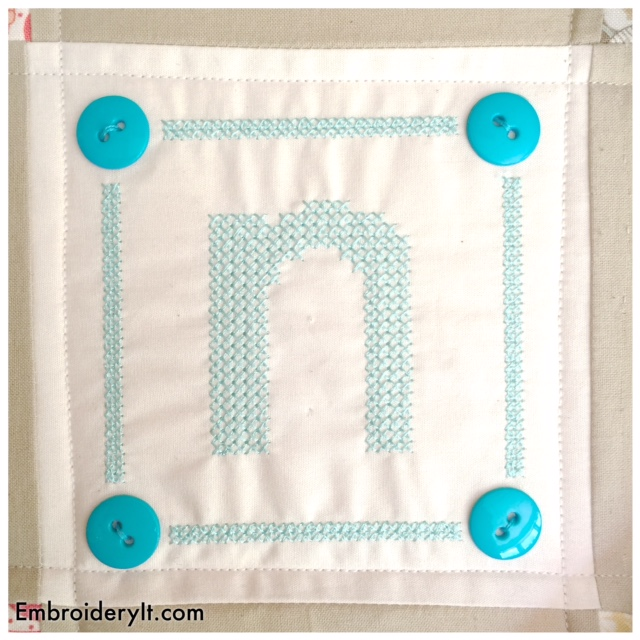 Free Machine Embroidery Design Cross Stitch Letter N