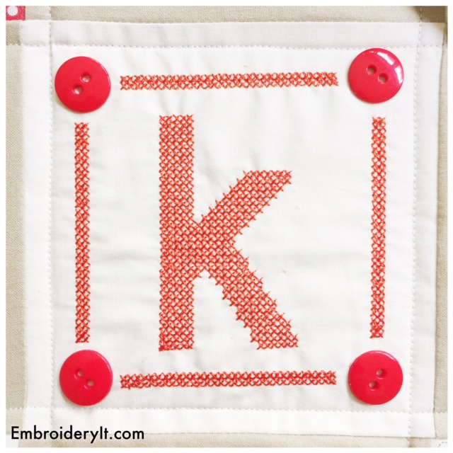 Machine Embroidered Cross Stitch Letter K Free this Week