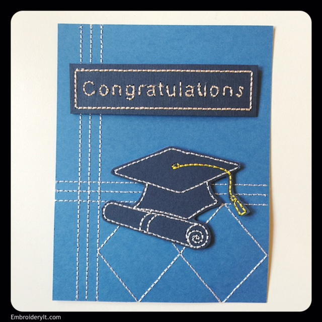 Machine Embroidery on Paper | Father's Day and Graduation Card Set