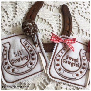Cowboy and Cowgirl machine embroidery in the hoop lollipop holders