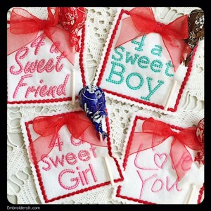 Machine embroidery candy holder for Valentine's Day