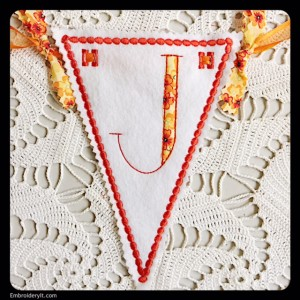 Let's Celebrate Banner Letter J by Embroidery It