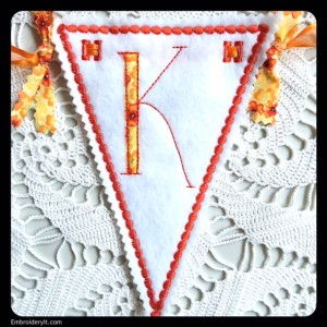 Let's Celebrate Banner Letter K by Embroidery It