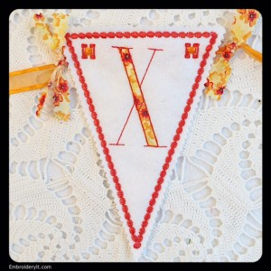 Let's Celebrate Banner Letter X by Embroidery It