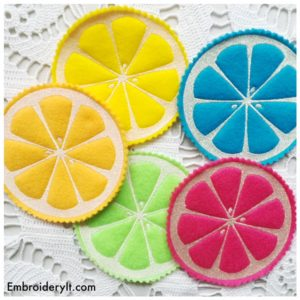 Embroidery It Citrus Coasters 7