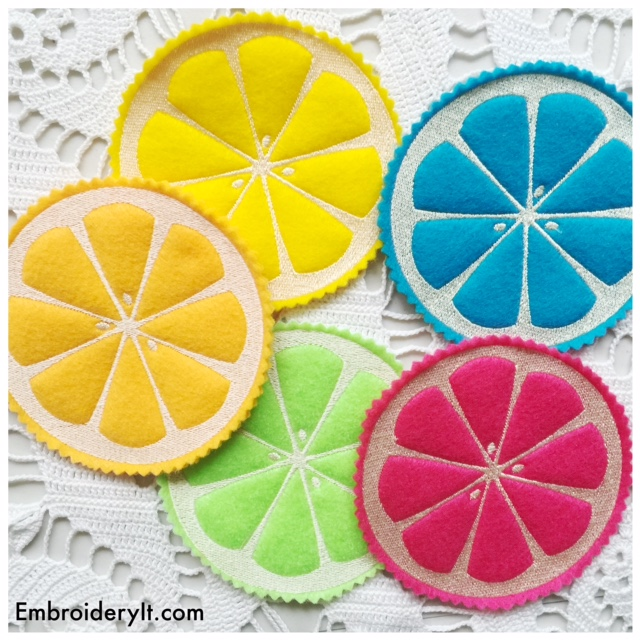 machine embroidered coasters