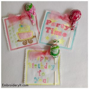 Birthday Lollipop Holders Machine Embroidery Designs