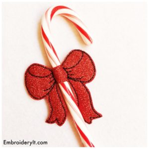 Embroidery It Candy Cane Bow 3