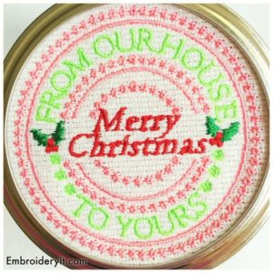 Embroidery It Christmas Mason Jar Lids 4
