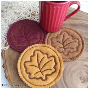 Embroidery It Maple Leaf Coaster 1
