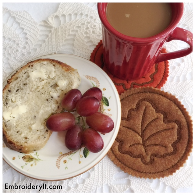 Get Ready for Fall with Machine Embroidered Maple Leaf Coasters