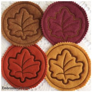 Embroidery It Maple Leaf Coaster 3