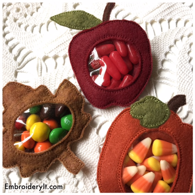 Fall Machine Embroidery Candy Holder Set