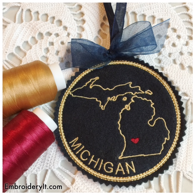 Personalized Machine Embroidery States Coasters and Ornaments