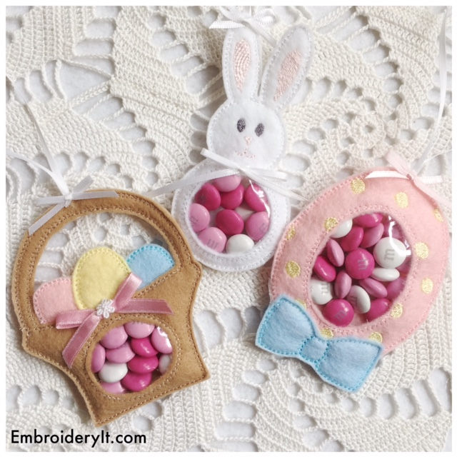 Machine Embroidery in the hoop candy holder designs