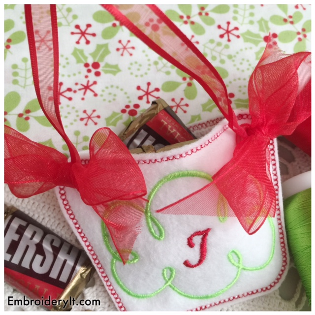 Machine Embroidery in the hoop monogram basket candy holder
