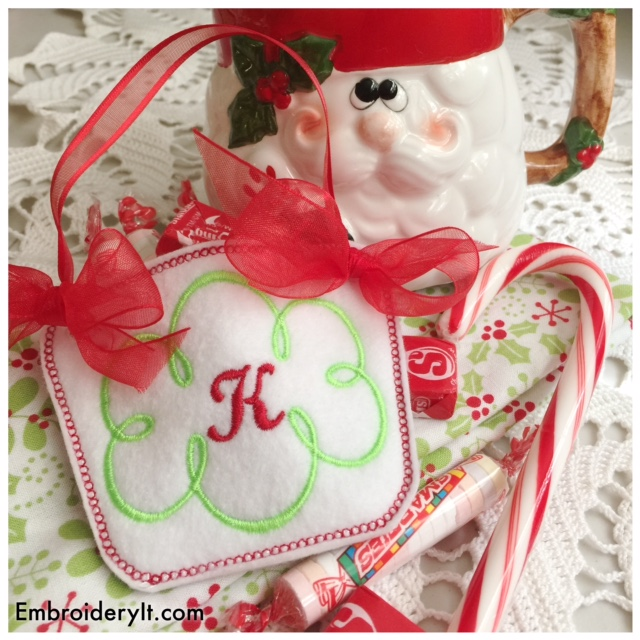 Machine Embroidery in the hoop candy holder