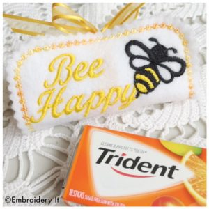 In the hoop machine embroidery design Bee Happy Candy Wrapper