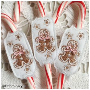 Machine Embroidery in the hoop Frosted Christmas Cookies Candy Cane Sliders