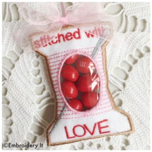 Machine Embroidery Stitched With Love Spool of Thread Candy HOlder