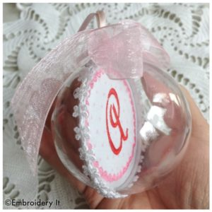 Machine Embroidered Valentine Monogram Ornament