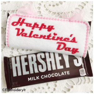 Happy Valentines Day Candy Bar Wrapper Machine Embroidery Design