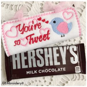 Machine Embroidery Valentine's Day design candy bar wrapper