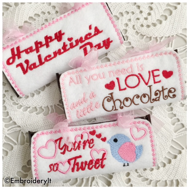 Machine Embroidery Valentine's Day Candy Bar Wrappers