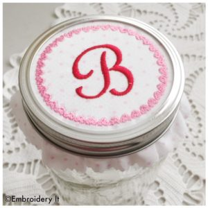 Machine Embroidery Alphabet Set Valentine Mason Jar Lid