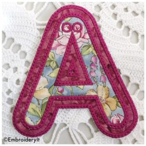 Banner Alphabet Letter A made using Applique with your Embroidery Machine
