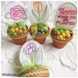 Machine Embroidery Garden Candy Holder
