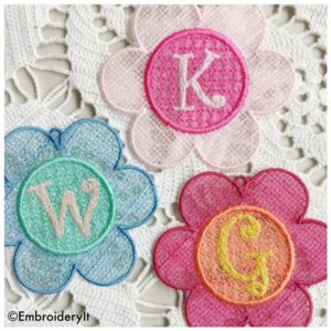 Machine Embroidery Free Standing Lace Organza Flower Alphabet Set