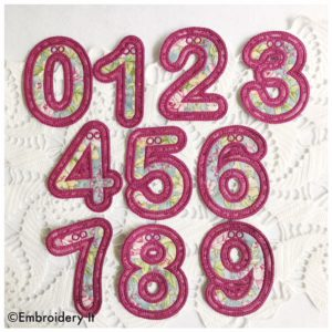Machine Embroidery Applique Banner Number Set with Ampersand