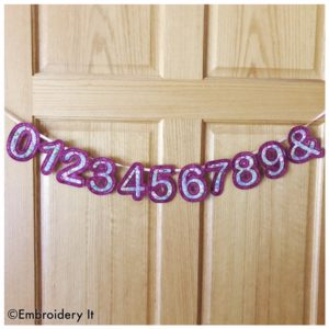 Machine Embroidery Applique Banner Number Set