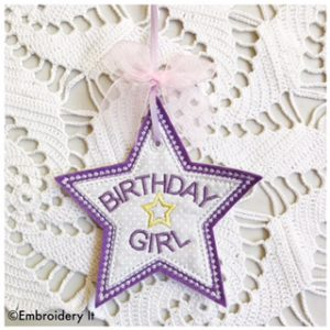 Machine Embroidery Applique Birthday Gift Bag Tag