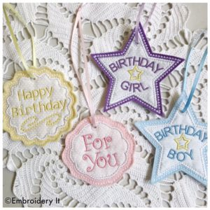 Machine Embroidery Applique Birthday Gift Tags