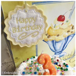 Machine Embroidery Happy Birthday Tag