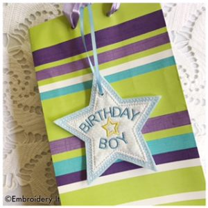 Machine Embroidery Birthday Gift Bag Tags