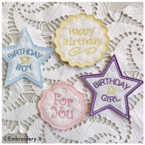 Machine Embroidery Birthday Gift Tag Set