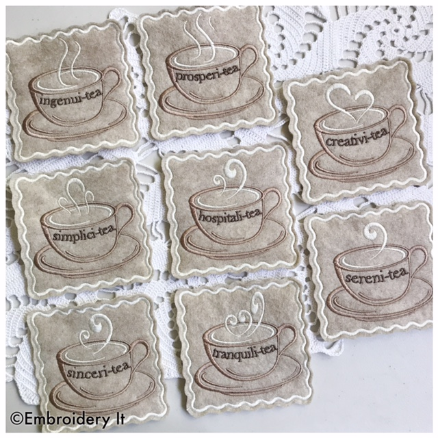 Birthday Party Day 7 Inspirational Teacup Coasters and Free Bonus Cupcake Embroidery Design