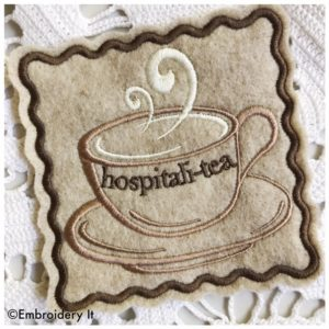Inspirational teacup coasters machine embroidery designs