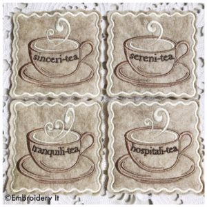 Inspirational teacups in the hoop machine embroidery coasters