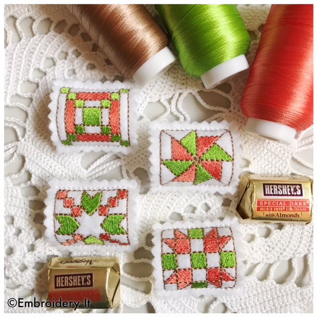 Machine Embroidery Candy Holder Quilt Block Nugget Squares