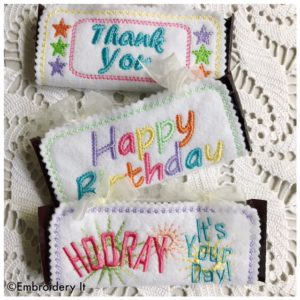 Machine Embroidery Birthday Candy Bar Wrappers
