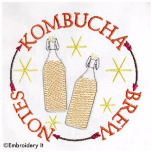 Kombucha tea brewing machine embroidery designs