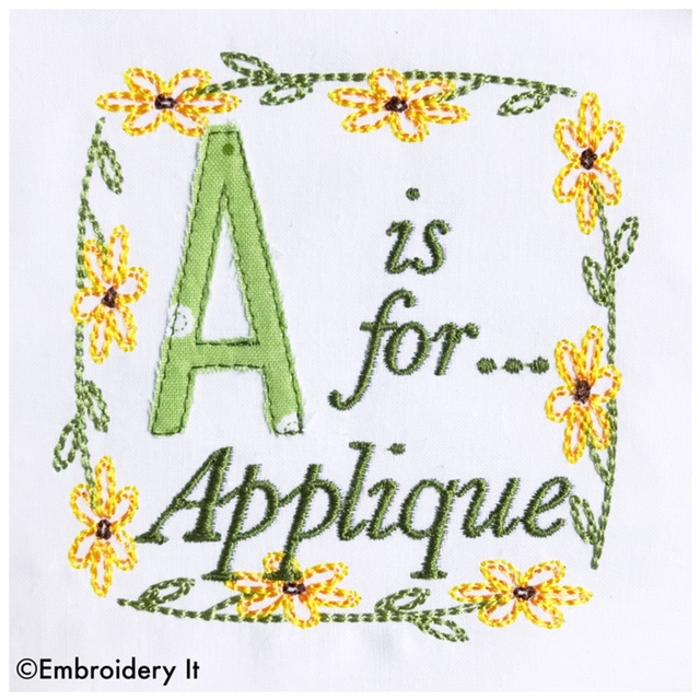 Free A is for Applique Machine Embroidery Design