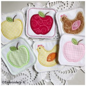 Applique and in the hoop machine embroidery coaster design